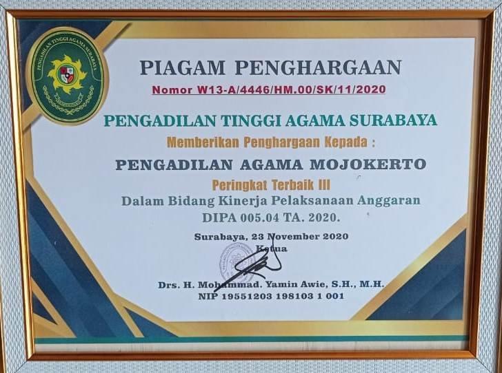 Peringkat 3 Kinerja Anggaran DIPA 04 2020 PTA Surabaya