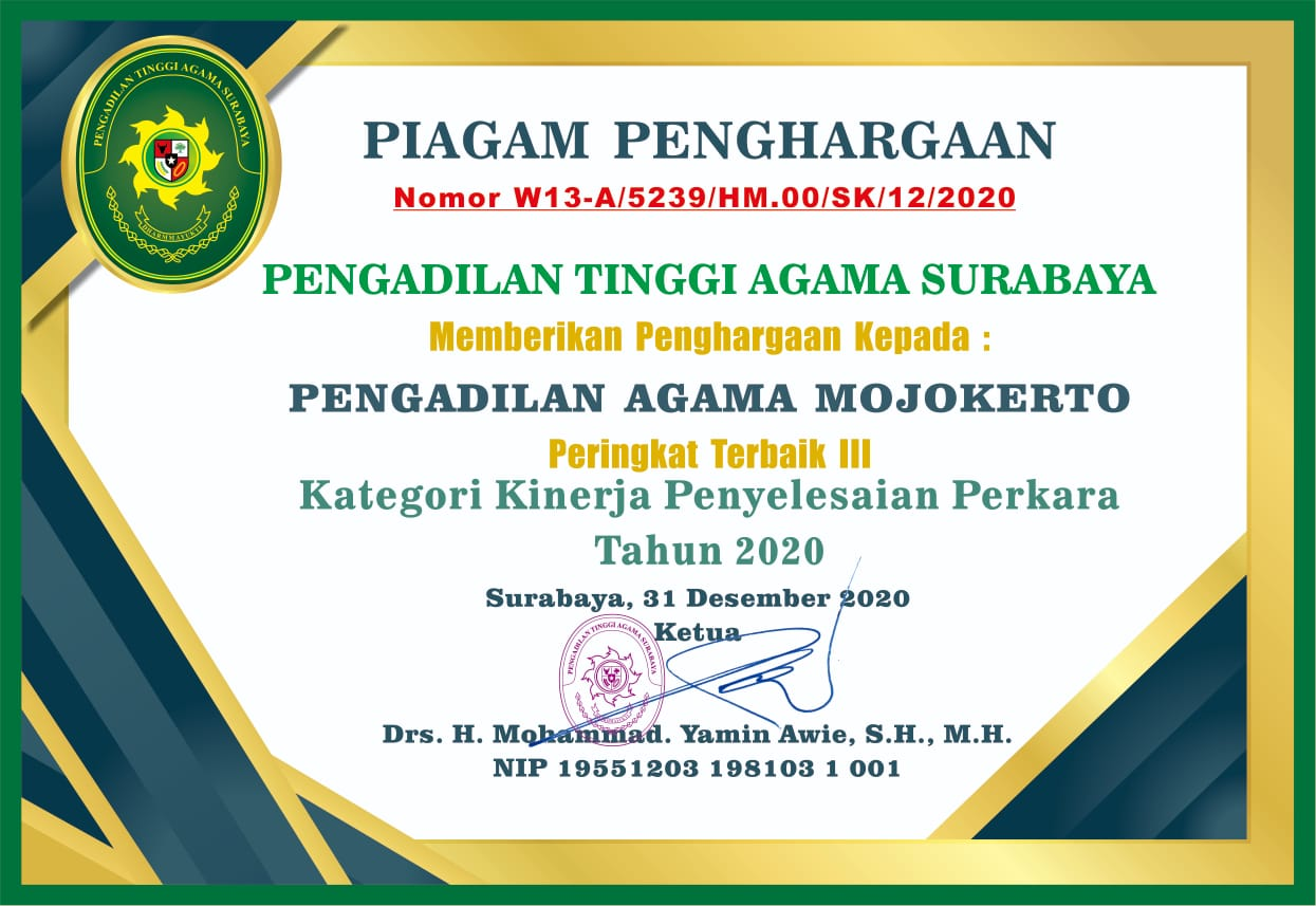 Peringkat 3 Penyelesaian Perkara 2020 PTA Surabaya