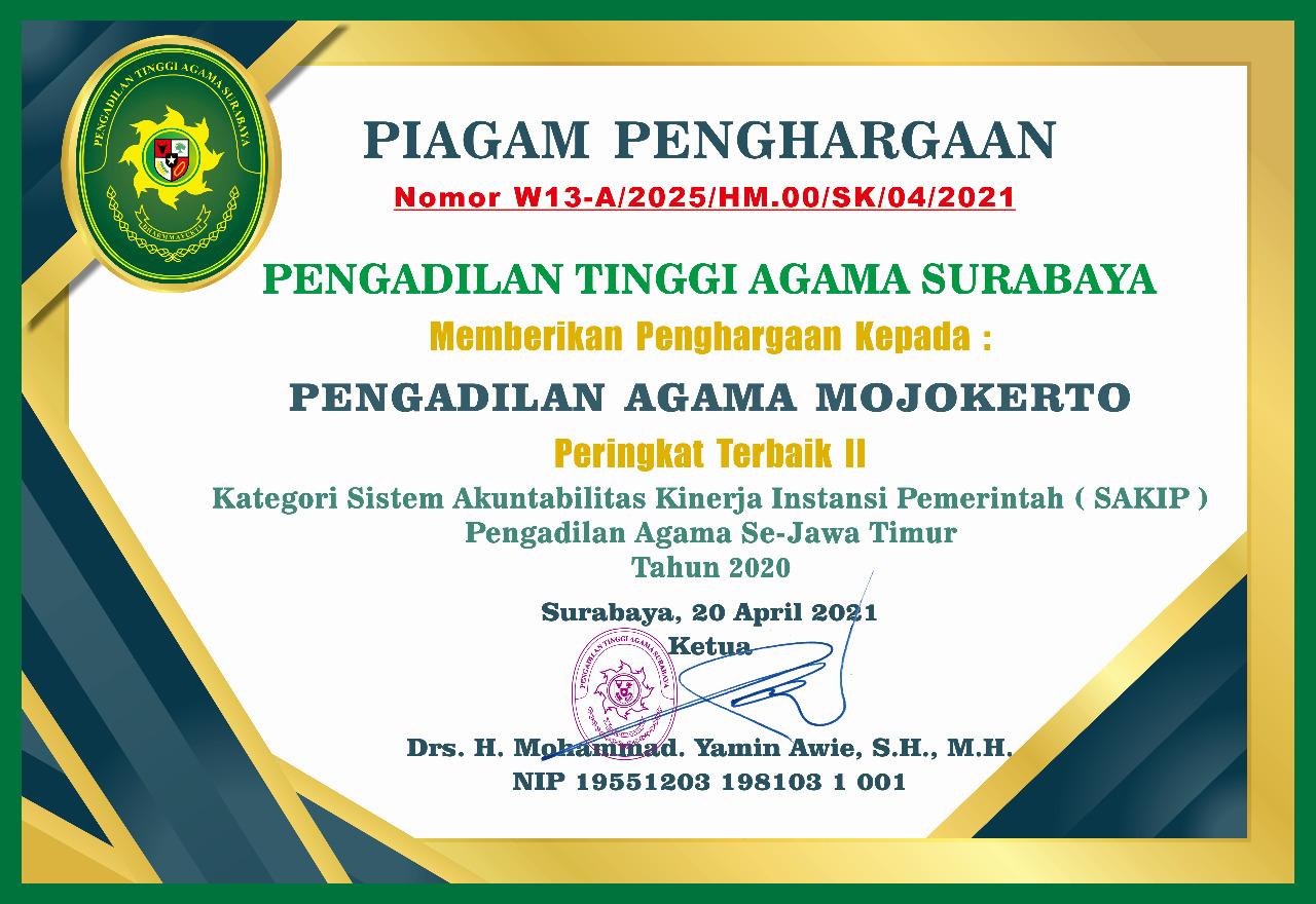 Peringkat II SAKIP Tahun 2021 PTA Surabaya Se-Jawa Timur