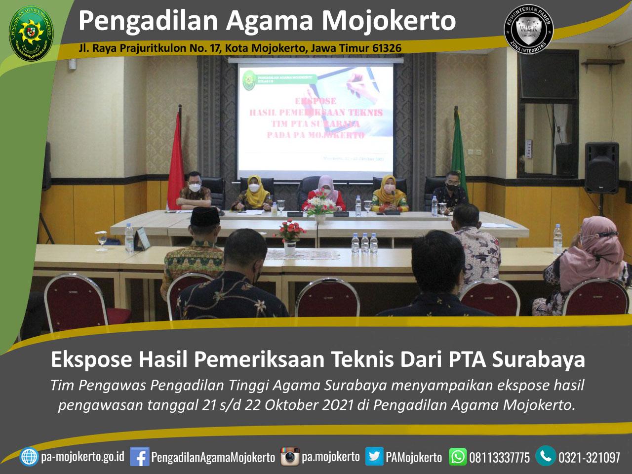 Pembinaan dan Ekspose Hasil Pemeriksaan Teknis serta Administrasi Yustisial di PA Mojokerto | (26/10)