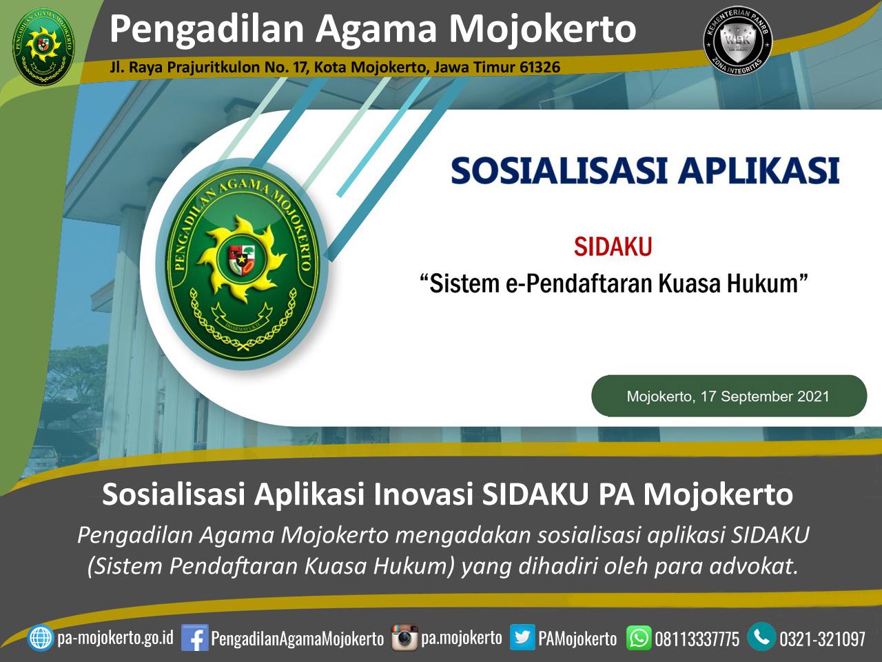 Sosialisasi Aplikasi SIDAKU PA Mojokerto Bersama Para Advokat Wilayah Mojokerto   (24/9)