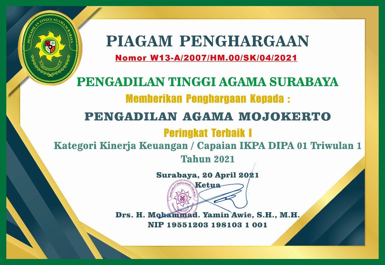 Peringkat I IKPA TA 2021 TW 1 PTA Surabaya Se-Jawa Timur