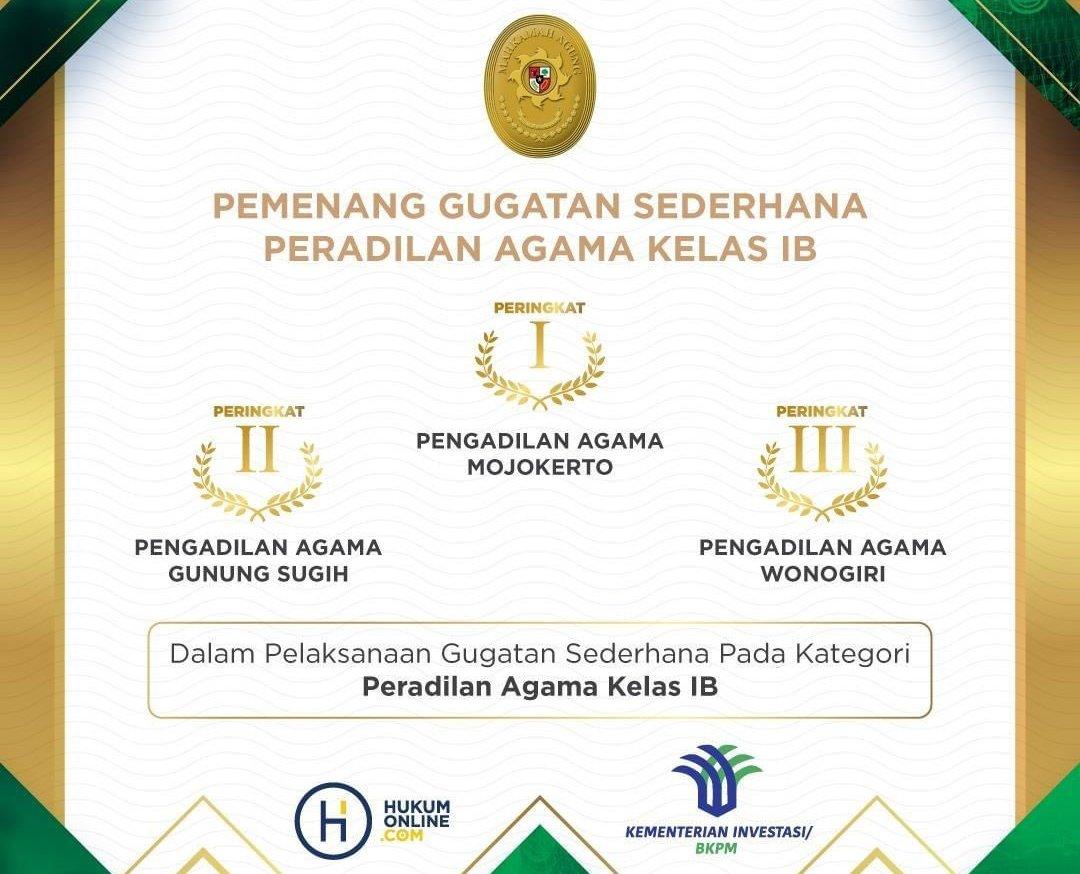 Anugerah Mahkamah Agung 2021 Kategori Gugatan Sederhana