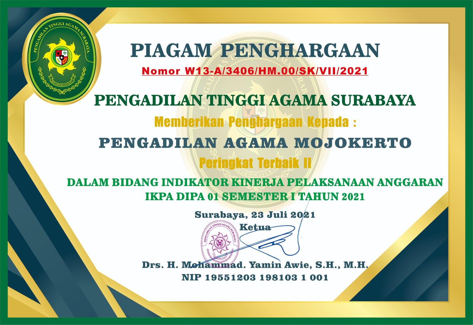 Peringkat 2 IKPA DIPA 01 Semester 1 Tahun 2021 Se-Jawa Timur